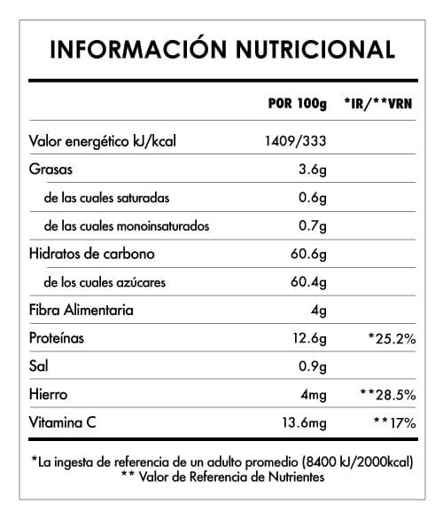 Tabela Nutricional - Bayas Goji Bio