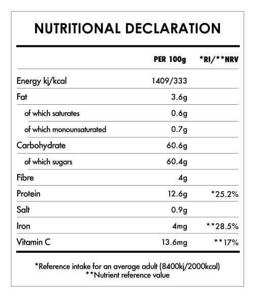 Tabela Nutricional - Organic Goji Berries