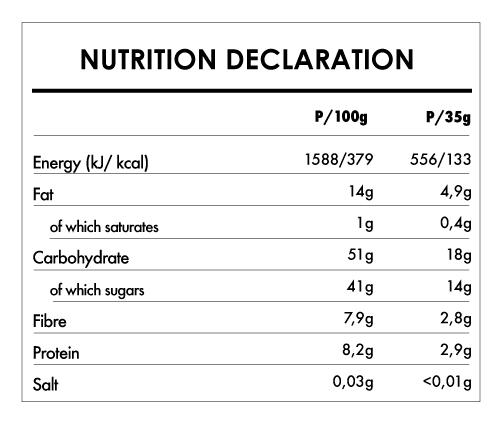 Tabela Nutricional - Buddha Energy Bar Cocoa & Guarana (15x35g)