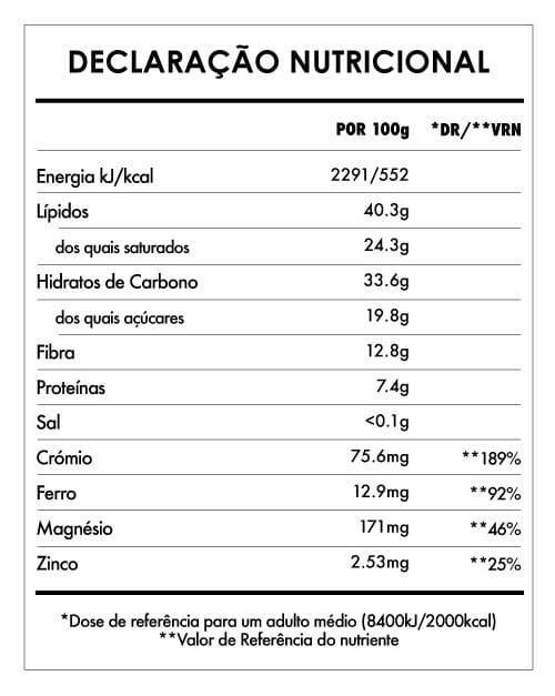 Tabela Nutricional - Chocolate Laranja Quinoa - 90g