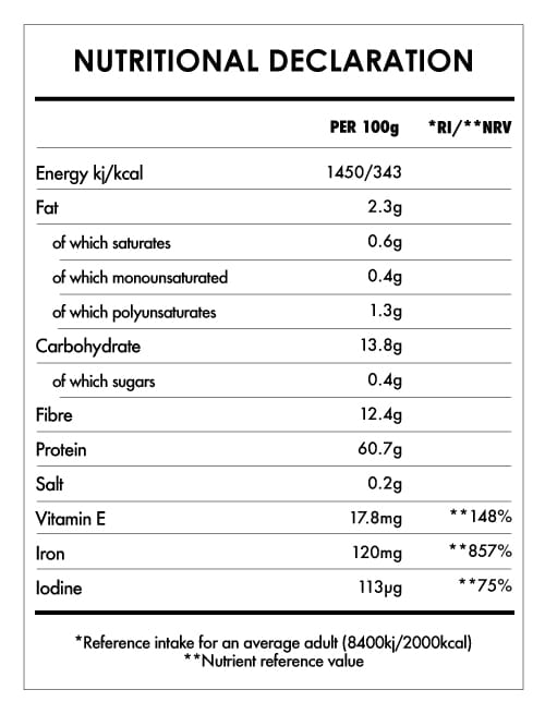 Tabela Nutricional - Chlorella Tablets