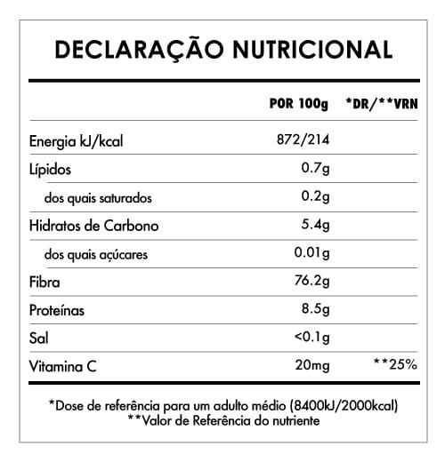 Tabela Nutricional - Cogumelos Reishi em Pó Bio