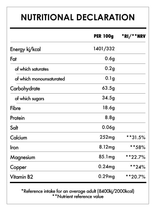 Tabela Nutricional - Gelatinized Maca