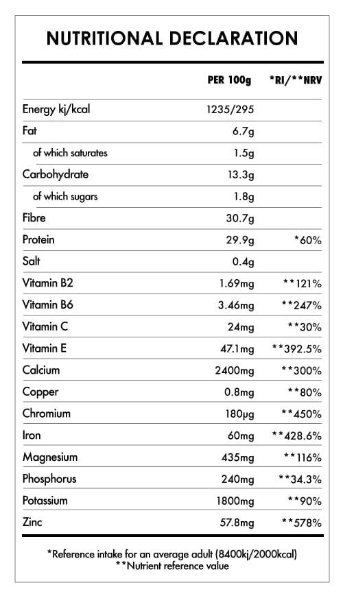 Tabela Nutricional - Moringa Powder Bio