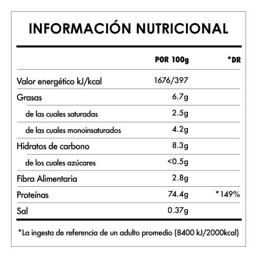 Tabela Nutricional - Proteína de Arroz en Polvo Bio