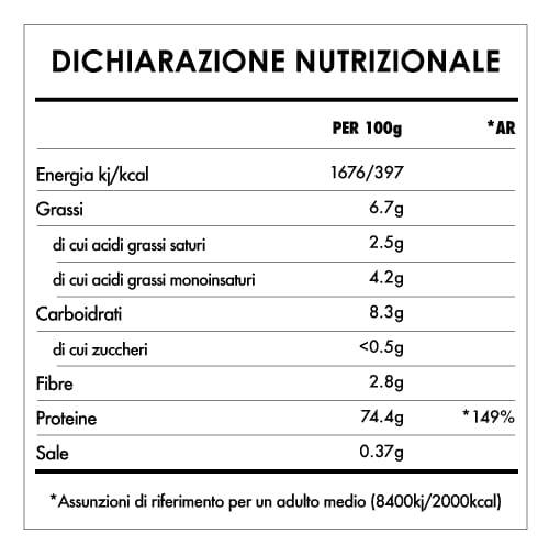 Tabela Nutricional - Proteine Di Riso Integrale in Polvere Bio
