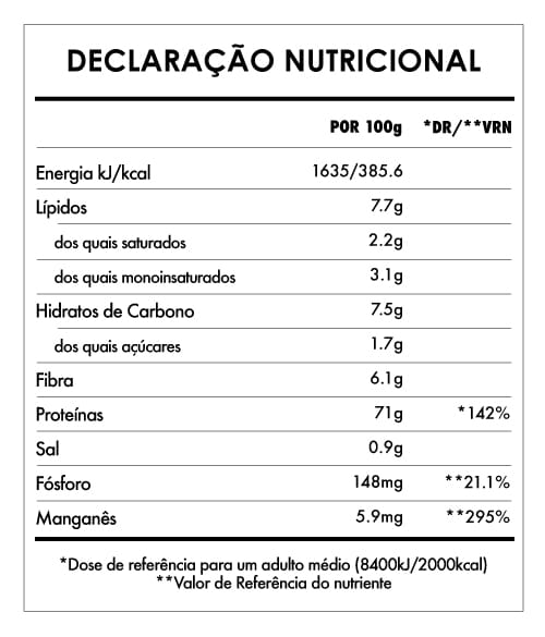 Tabela Nutricional - Super Green Protein