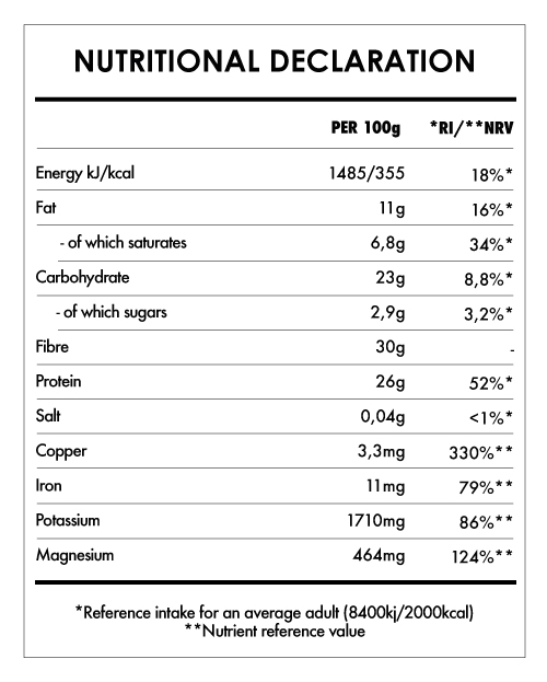 Tabela Nutricional - Cacao Powder Bio