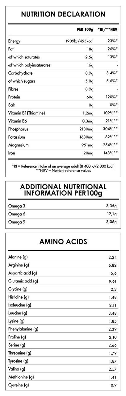 Tabela Nutricional - Hemp Protein 60%
